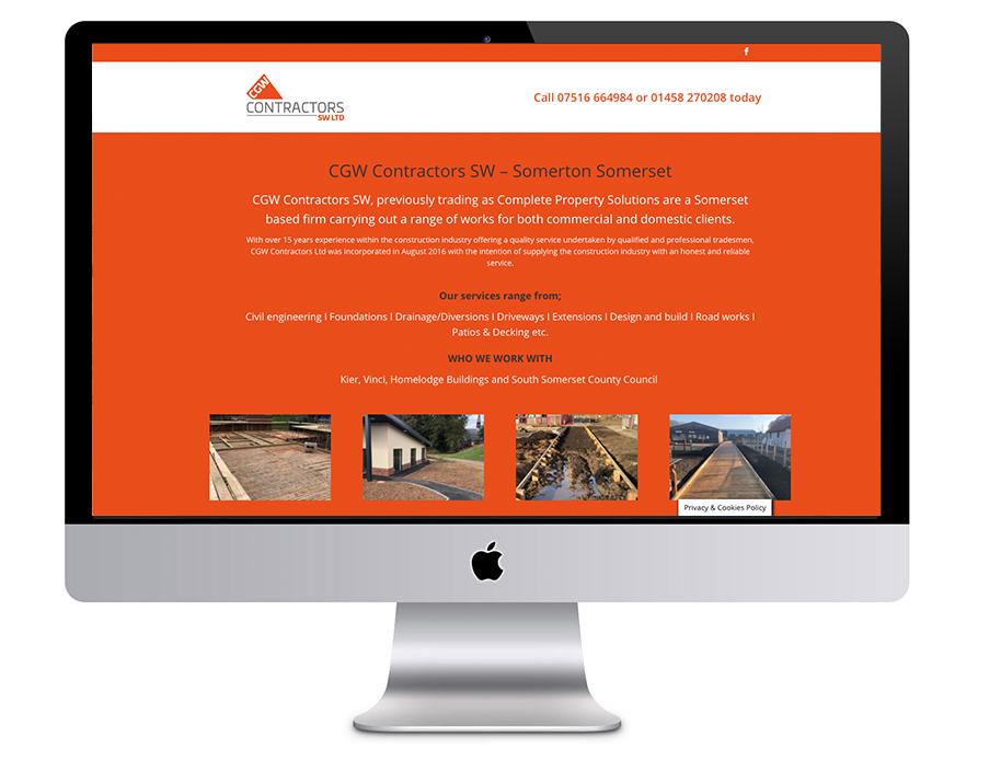 Image of the CGW Contractors SW Ltd website in a desktop vector as designed by Squiggles Graphics, a Website Design and Graphic Design agency, based in Langport in Somerset.