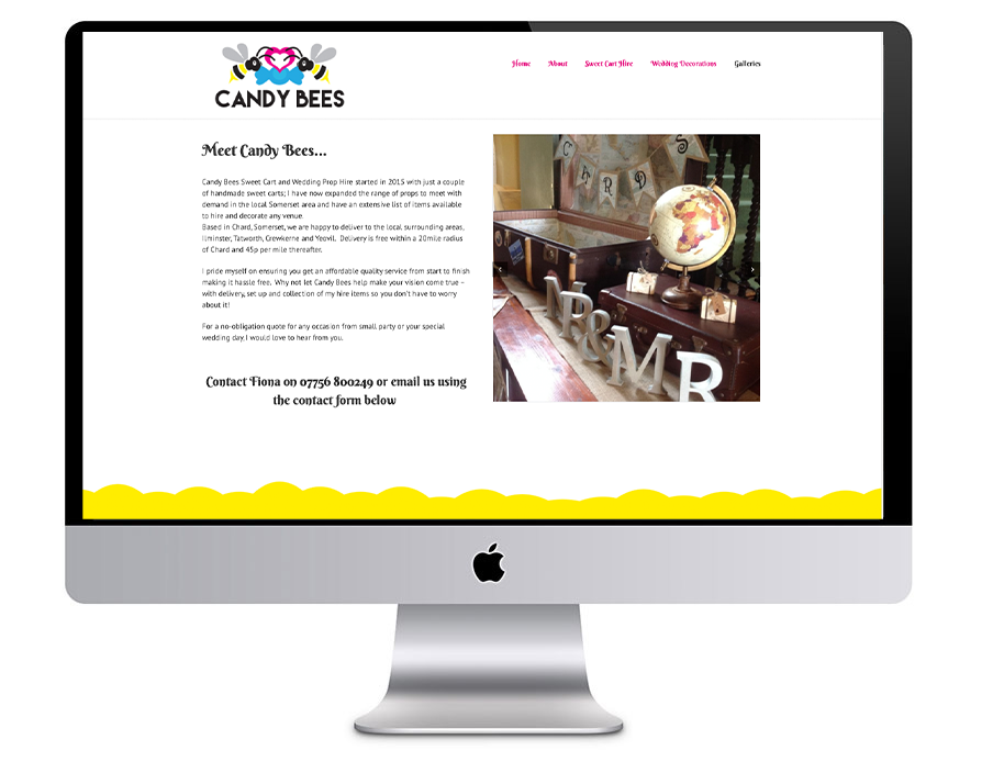Image of the Candy Bees website in a desktop computer vector - which was proudly designed by Squiggles Graphics, a Design Agency based in Langport, Somerset specialising in Websites & Logo design for small businesses.