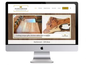Image of the Markswood Hardwood Furniture Marker website in a desktop computer that Squiggles Graphics - a design agency in Langport, Somerset proudly designed.