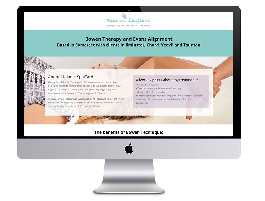 Image of Melanie Puffard Bowen Therapy and Evans Alignment website in a desktop computer vector - which was proudly designed by Squiggles Graphics, a Design Agency based in Langport, Somerset specialising in Websites & Logo design for small businesses.