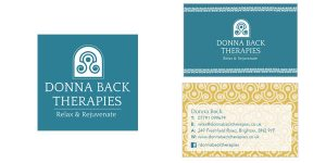 Image of the Donna Back Therapies logo and business cards that Squiggles Graphics - a website design and graphic design agency in Langport, Somerset proudly created.
