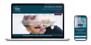 Image of the Eden Vets website in a laptop & mobile phone vector, that Squiggles Graphics - a website design and graphic design agency in Langport, Somerset, proudly designed.