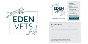Image of the Eden Vets logo and business card proudly designed by Squiggles Graphics - a graphics and website design agency in Langport, Somerset.