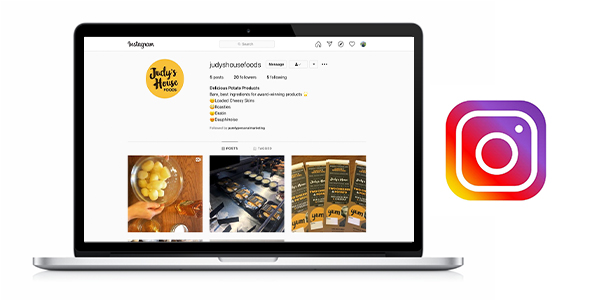 Image of Judy's House Foods instagram feed in a laptop vector, that Squiggle Graphics - a design agency in Langport, Somerset proudly designed Logo for.