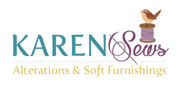 Image of the Karen Sews Alterations & Soft Furnishes Logo Design by Squiggle Graphics, a Website Design and Graphic Design agency, based in Langport in Somerset.