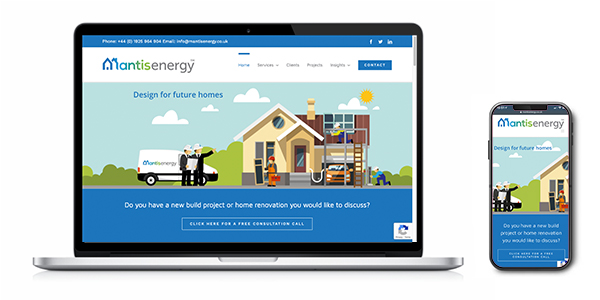 An image of the Mantis Energy website in a laptop & mobile phone vector which was proudly created by Squiggles Graphics - a website design agency in Langport, Somerset.