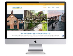 Image of the Morrison Blood Chartered Surveyors website in a desktop computer that Squiggles Graphics - a design agency in Langport, Somerset proudly designed.