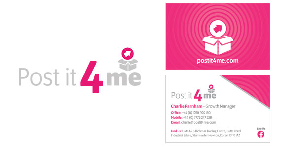 Image of the Post it 4 Me logo & business cards that Squiggle Graphics - a design agency in Langport, Somerset proudly designed.