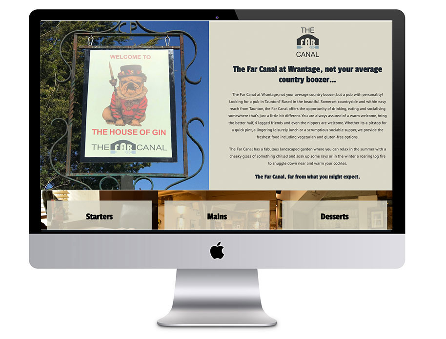 Image of The Far Canal website in a desktop computer vector - which was proudly designed by Squiggles Graphics, a Design Agency based in Langport, Somerset specialising in Websites & Logo design for small businesses.