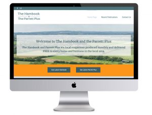 Image of the Hambook website in a desktop computer image that Squiggles Graphics - a design agency in Langport, Somerset proudly designed the Website for.