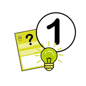Vector Image of the number 1, a lightbulb and a paperwork to represent the first step of the website design process at Squiggles Graphics, a Website Design agency in Langport, Somerset.