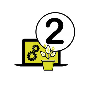 Vector image of the number 2, with a plant and a laptop with cogs showing on the screen to represent the second step of the website design process at Squiggles Graphics, a Website Design agency in Langport, Somerset.