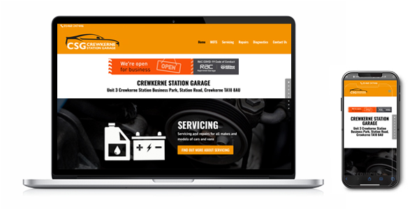 An image of the Crewkerne Station Garage website in a laptop & mobile phone vector as created by Squiggles Graphics - a website design agency in Langport, Somerset.